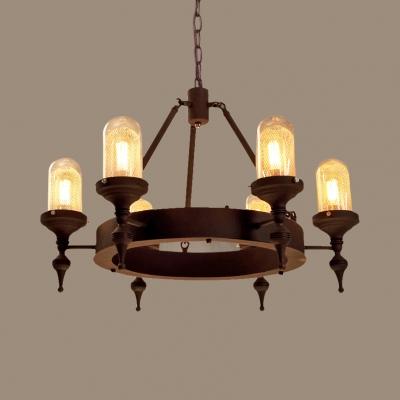 Vintage Style Chandelier Light with Round Shape 6 Lights Metal Hanging Light for Living Room Kitchen