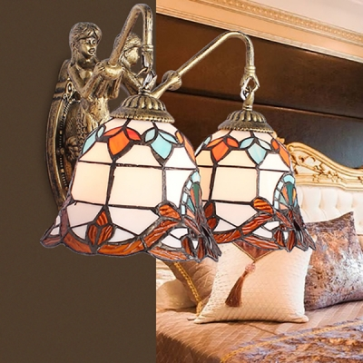 Vintage Style Wall Sconce Bell Shade 2 Lights Stained Glass Sconce Light with Mermaid for Stair
