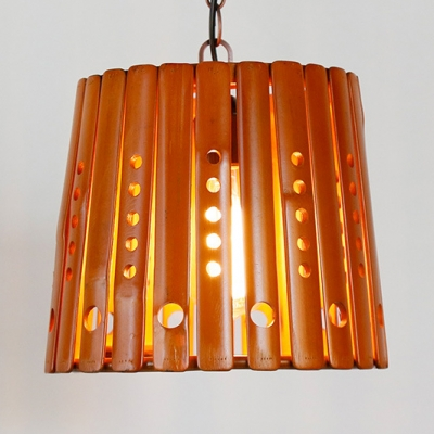 Wood Tapered Ceiling Light Dining Room Single Light Rustic Style Pendant Lighting in Brown
