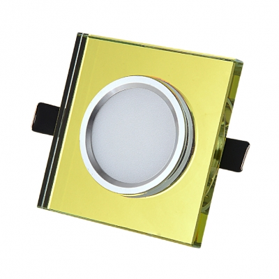 (10 Pack)Wireless Square Recessed Light 3W Amber/Gold/Blue Crystal LED Light Fixture Recessed for Hotel Living Room