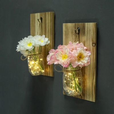 Flower Decoration Fairy Light with Bottle Pretty Wood and Clear Glass String Light for Living Room