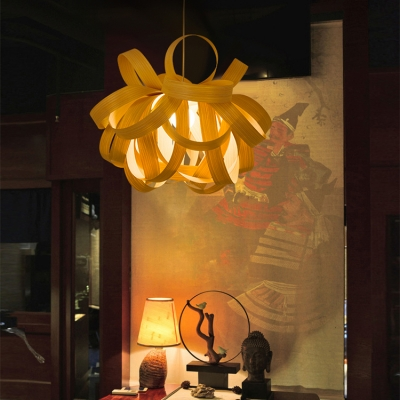 Rustic Style Beige Pendant Lighting with Shade Single Light Bamboo Ceiling Light for Hallway