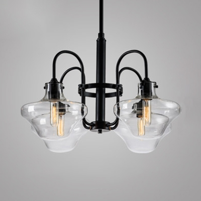 Antique Style Black Chandelier 4 Lights Metal and Amber/Clear Glass Hanging Light for Dining Room