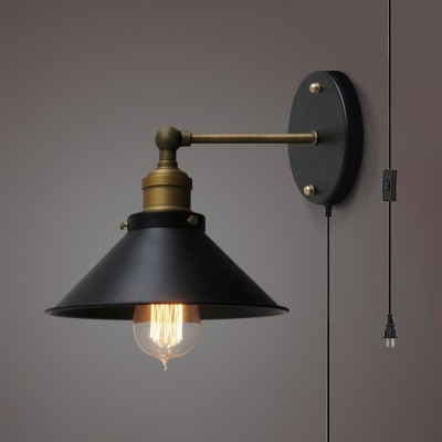 Antique Style Cone Wall Sconce 1 Light Metal Wall Lamp with Plug In Cord in Black for Dining Room
