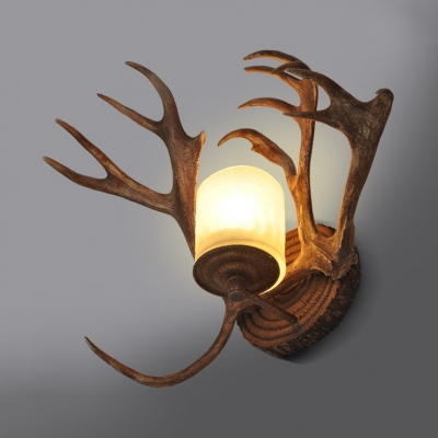 Antique Style Wall Lamp Single Light Resin and Frosted Glass Wall Light for Dining Room Living Room