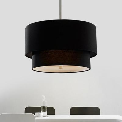 Beige/Black/White Drum Chandelier 3 Lights Rustic Style Fabric Suspension Light for Kitchen