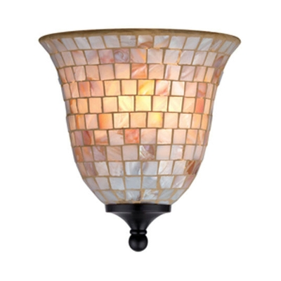 Bell Shade Wall Light Mosaic Shell Sconce Light in Beige for Dining Room Bedroom