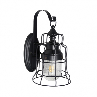 Black Wire Cage Wall Light Single Light Vintage Style Metal Wall Lamp for Restaurant Bar