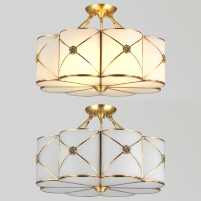 Brass Flower Semi Flush Light 4/6 Lights Elegant Style Glass Ceiling Light for Bedroom