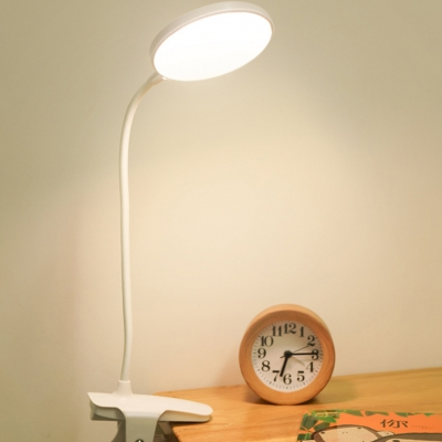 Dormitory Bedroom LED Desk Light with Flexible Goose Neck USB Charging Port/Plug In Study Lamp with 3 Lighting Choice