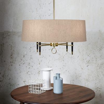 Drum Shade Dining Room Chandelier Fabric & Metal 4 Lights American Rustic Suspension Light