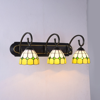 Glass Bowl Wall Light 3 Lights Tiffany Style Rustic Sconce Light in Blue/Green/Orange/Yellow for Bathroom