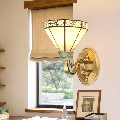 Glass Conical Wall Light Single Light Tiffany Style Sconce Light for Study Room Bedroom