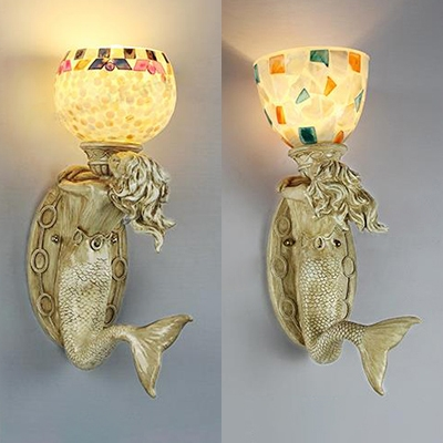 Globe Tiffany Sconce Light Living Room Hallway 1 Light Mermaid Wall Light with Shell Decoration