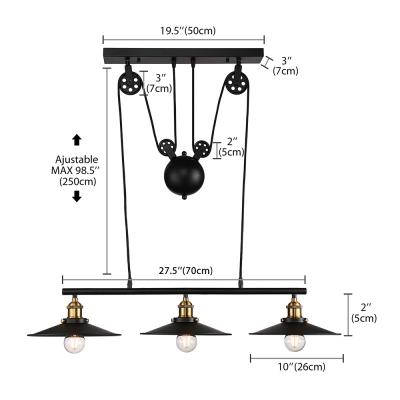 Industrial 3 Light Linear Chandelier 27.5