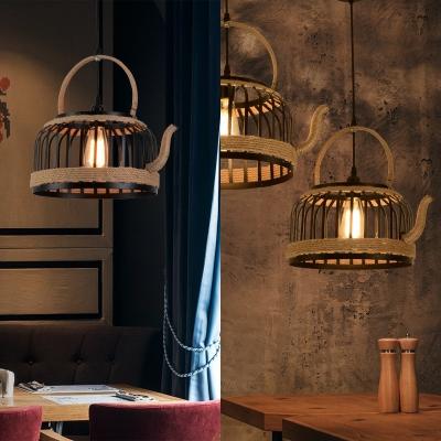 Industrial kettle Shape Hanging Light 1 Light Metal Cage Pendant Lighting in Black