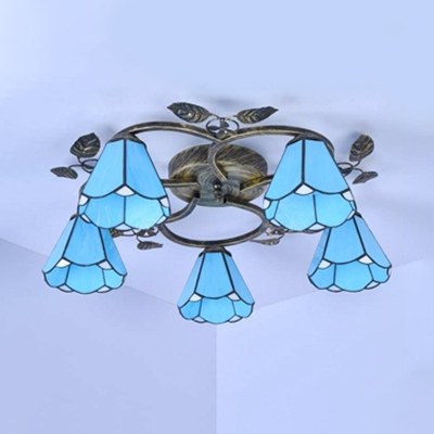 Living Room Conical Ceiling Light Glass 5/9 Lights Tiffany Style Blue Semi Flush Ceiling Light