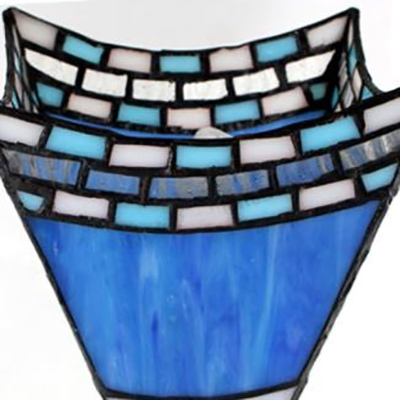 Mediterranean Style Mermaid Sconce Light Stained Glass 2 Lights Blue Wall Light for Kitchen