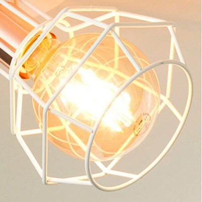 Metal Frame Wire Track Light Kitchen 4 Lights Industrial LED Ceiling Mount Light in Black/White