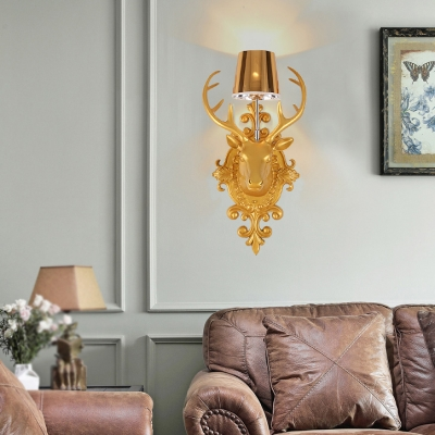 Resin Deer Decoration Wall Light Bedroom Hallway Single Light Vintage Style Wall Lamp in Blue/Gold/Orange