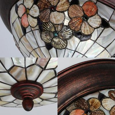 Restaurant Dome Ceiling Lamp Stained Glass Vintage Style Flower Flush Ceiling Light