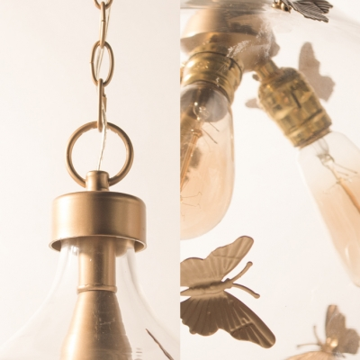 Rustic Style Hanging Light with Butterfly Decoration 1/3 Lights Metal and Open Clear Glass Ceiling Light in Gold