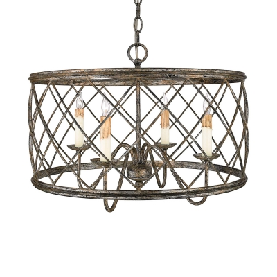 Silver Leaf Candle Pendant Light With Metal Drum Shade 4 Lights Rustic