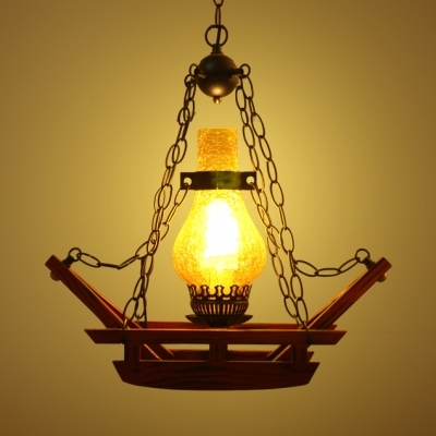 Single Light Gourd Pendant Light Industrial Brown Pendant Lamp for Kitchen Foyer