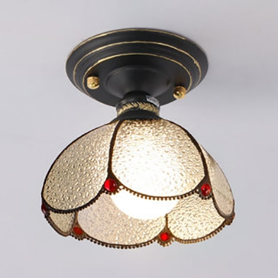 Tiffany Style Dome Flush Light 1 Light White/Blue/Clear Glass Ceiling Lamp for Bathroom
