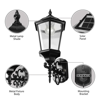 Vintage Style 20 Inches High Outdoor Solar LED Lamp Wall Mount in Black Finish