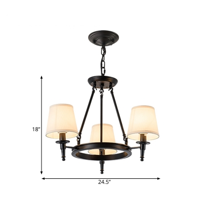 White Tapered Shade Chandelier 3/6 Lights Antique Style Metal Fabric Ceiling Light for Living Room