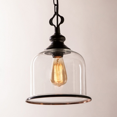1/3 Lights Cup Shape Light Fixture Traditional Clear Glass Pendant Light in Black/Brass for Dining Room Hallway