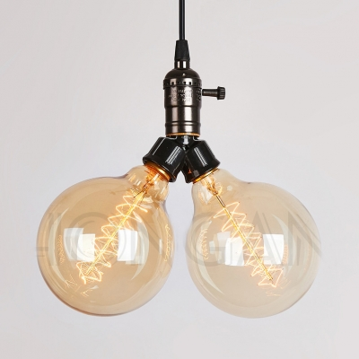 2/4 Lights Globe Chandelier Industrial Clear Glass Chandelier Lighting for Living Room