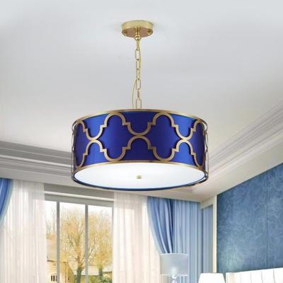 3 Lights Drum Chandelier Elegant Style Metal Suspension Light in Black/Blue/White for Hotel
