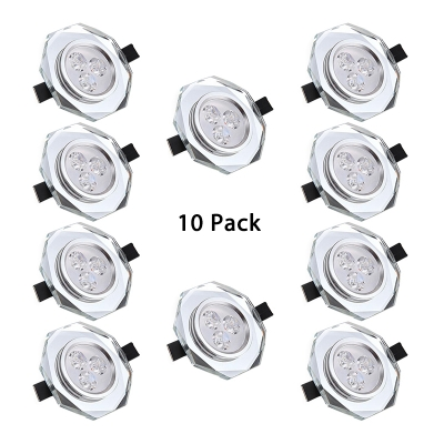 (10 Pack)3W Modern Wireless Recessed Down Light Black/White Crystal Flush Mount Recessed in White/Warm for Office