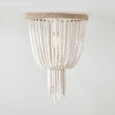 Antique Style Bell Shape Flush Mount Ceiling Fixture Wood Beads Single