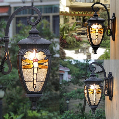 Antique Style Black Sconce Light with Dragonfly Pattern 1 Light Metal and Stained Glass Wall Lantern for Hallway