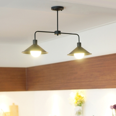 Antique Style Conical Island Pendant Metal 2 Lights Black/White Ceiling Light for Dining Room