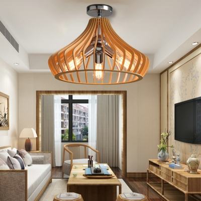 Antique Style Wood Ceiling Light with Shade 3 Lights Flush Mount Ceiling Fixture for Dining Room