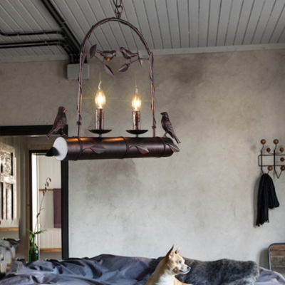 Arched Chandelier Lighting with Candle and Bird Decoration 2 Lights Rustic Metal Hanging Light in Rustic Copper