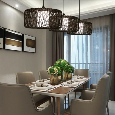 Black Drum Shape Ceiling Light Single Light Bamboo Antique Style Pendant Lighting for Dining Room