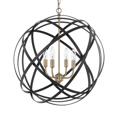 Black Strap Globe Ceiling Pendant 4 Lights Vintage Metal Lighting Fixture for Dining Table
