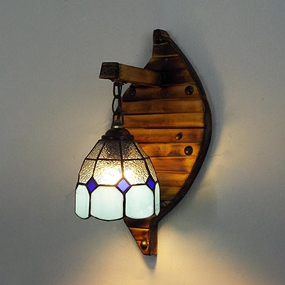 Blue Down Lighting Hanging Wall Light 1 Light Mediterranean Style Glass and Metal Wall Sconce for Bedroom