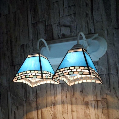 Blue Trapezoid Sconce Light 2 Lights Mediterranean Style Stained Glass Wall Lamp for Kitchen