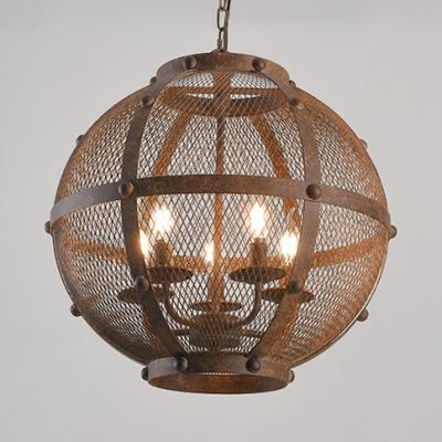 Cafe Restaurant Globe Chandelier Light Metal 3/5 Lights Antique Style Rust Pendant Lamp