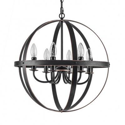 Candle Shape Dining Room Hanging Light Metal 3/6 Lights Antique Chandelier with Globe Shade in Black/Chrome/Nickle