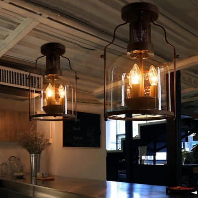 Clear Glass Metal Candle Semi Flush Mount Light Dining Room Balcony 3 Lights Antique Style Ceiling Light in Black