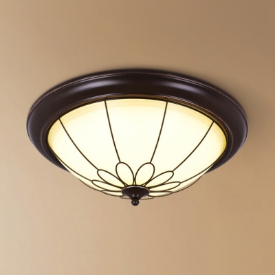 Foyer Dome Flush Mount Light Frosted Glass 3 Lights Rustic Style Ceiling Fixture in White\/Warm