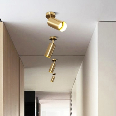 Gold Cylinder LED Ceiling Light Long Life Angle Adjustable Spot Light in Warm White for Bedroom