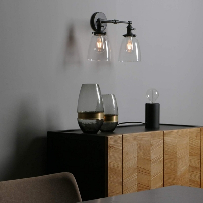 Industrial Bell Shape Wall Light Metal and Glass 2 Light Black Wall Lamp for Dining Room Bathroom
